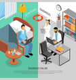online medical diagnosis isometric banners vector image vector image