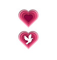 papercut heart love dove vector image