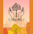 peace day symbol with tree protected by hands vector image vector image