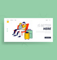 people waiting for airplane boarding landing page vector image
