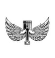 piston with wings tattoo design vector image