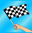 racing flag in hand pop art vector image vector image