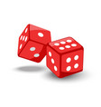 red game dice in flight vector image vector image