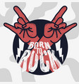 rock design with devil horn hand gesture vector image