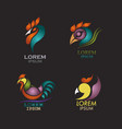 rooster logo design icon set vector image vector image
