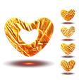 Set of golden hearts vector image vector image