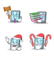 set of tablet character with judge book santa vector image vector image