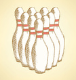 Sketch bowling pins in vintage style vector image vector image