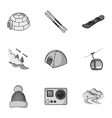 Ski resort set icons in monochrome style Big vector image vector image