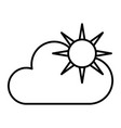 sun and cloud thin line icon weather vector image vector image