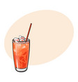tall glass full of freshly squeezed grapefruit vector image