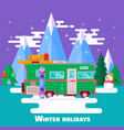 travel by carwinter holidays winter holidays vector image vector image