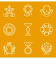 Trophy and awards icons set in linear style vector image