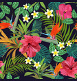 tropical flowers seamless pattern colorful vector image vector image