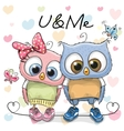 Two cute Cartoon Owls vector image vector image