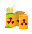 Yellow barrel with a radiation sign Open container vector image