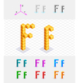 Isometric font from the cubes Letter F vector image