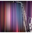 abstract blue music background with saxophone vector image vector image
