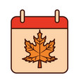 autumn calendar reminder season line and fill icon vector image vector image