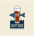 banner for craft beer with fish and glass beer vector image
