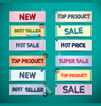 Business promo retro paper labels new sale top