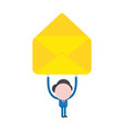 businessman character holding up blank open mail vector image