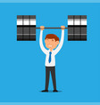 businessman lifting weight vector image