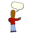 cartoon tough guy pointing with speech bubble vector image
