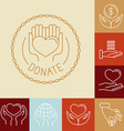 charity line logos and signs vector image vector image