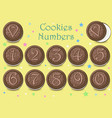 chocolate cookies numbers vector image