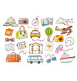 colored travel doodles on white background vector image