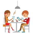Couple sitting in the cafe flirting and talking vector image vector image