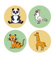 cute animals cartoon round icons vector image