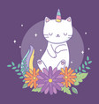 cute caticorn with floral decoration vector image vector image