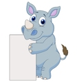 Cute rhino cartoon with blank sign vector image vector image