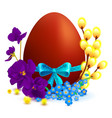 easter holiday symbols colored egg branch of vector image vector image