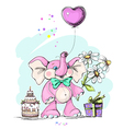 elephant holding a balloon in form heart vector image vector image