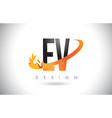 ev e v letter logo with fire flames design and vector image