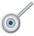 Eyeball in magnifying glass vector image