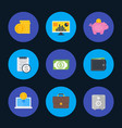finance money payments icons set flat style vector image vector image