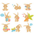 flat set of easter rabbit in different vector image