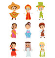 flat set of little kids in different vector image