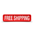 free shipping red 3d square button isolated on vector image