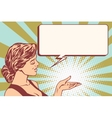 girl promoter hand gesture vector image vector image