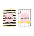 gold glitter cards with dots and sequins wedding vector image vector image
