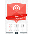 June 2016 Wall Monthly Calendar for 2016 Year vector image