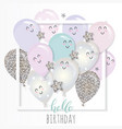 kawaii balloons in paper cut out frame birthday vector image vector image