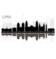 lima city skyline black and white silhouette with vector image