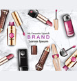 lipstick cosmetics set realistic detailed vector image vector image