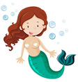 Mermaid with green fin vector image vector image